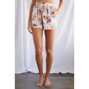 Satin Floral Ruffle-Trim Shorts